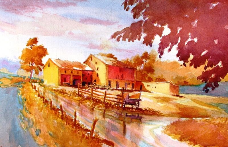 Complimentary Landscape Orange Blue 5th Grade Art