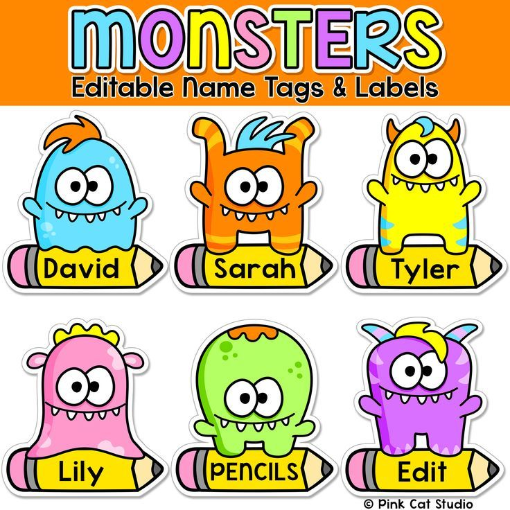 Monster editable nametags locker tags and decor for Locker tag templates