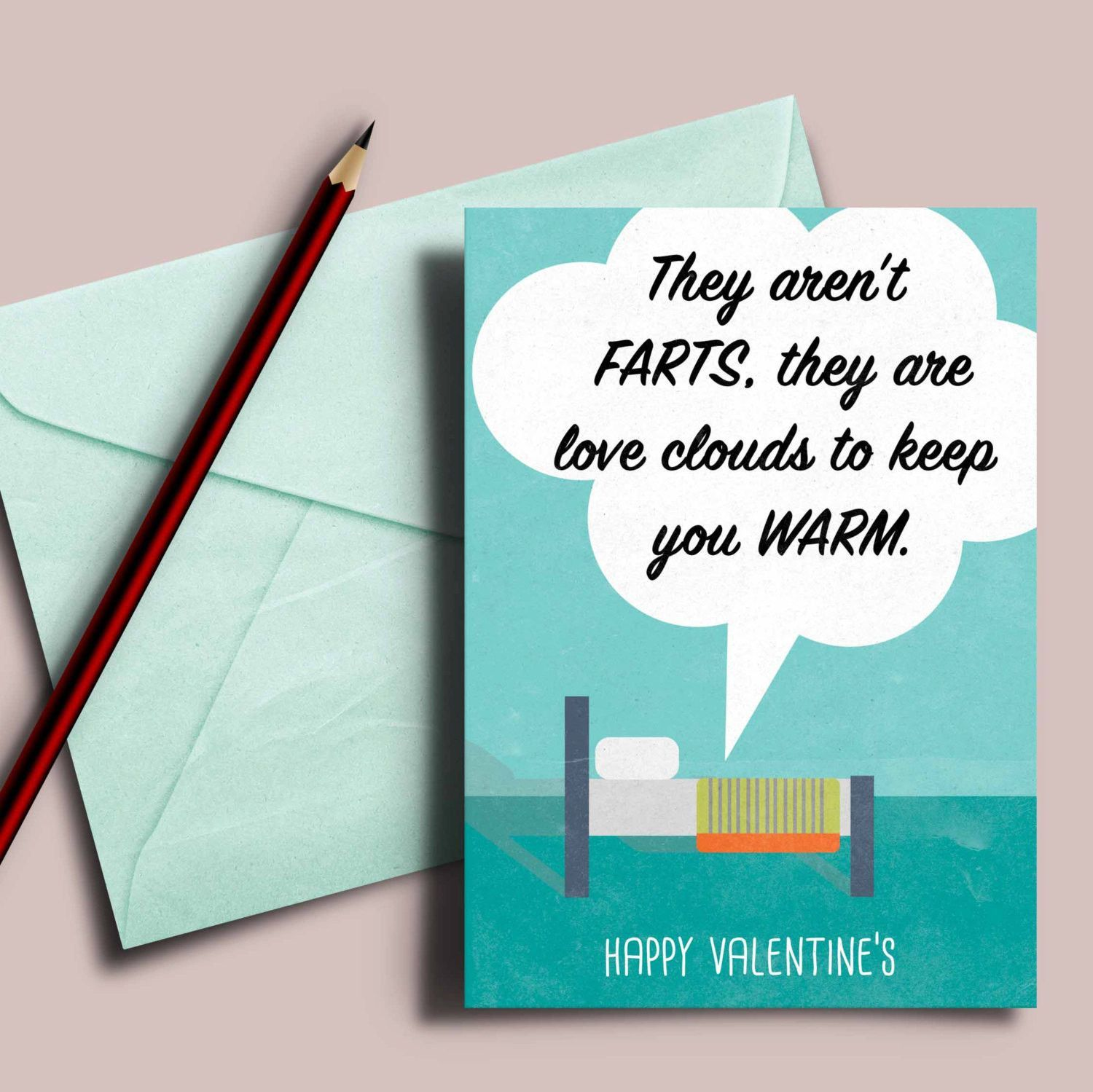 Funny Valentines card They are love clouds to keep you warm
