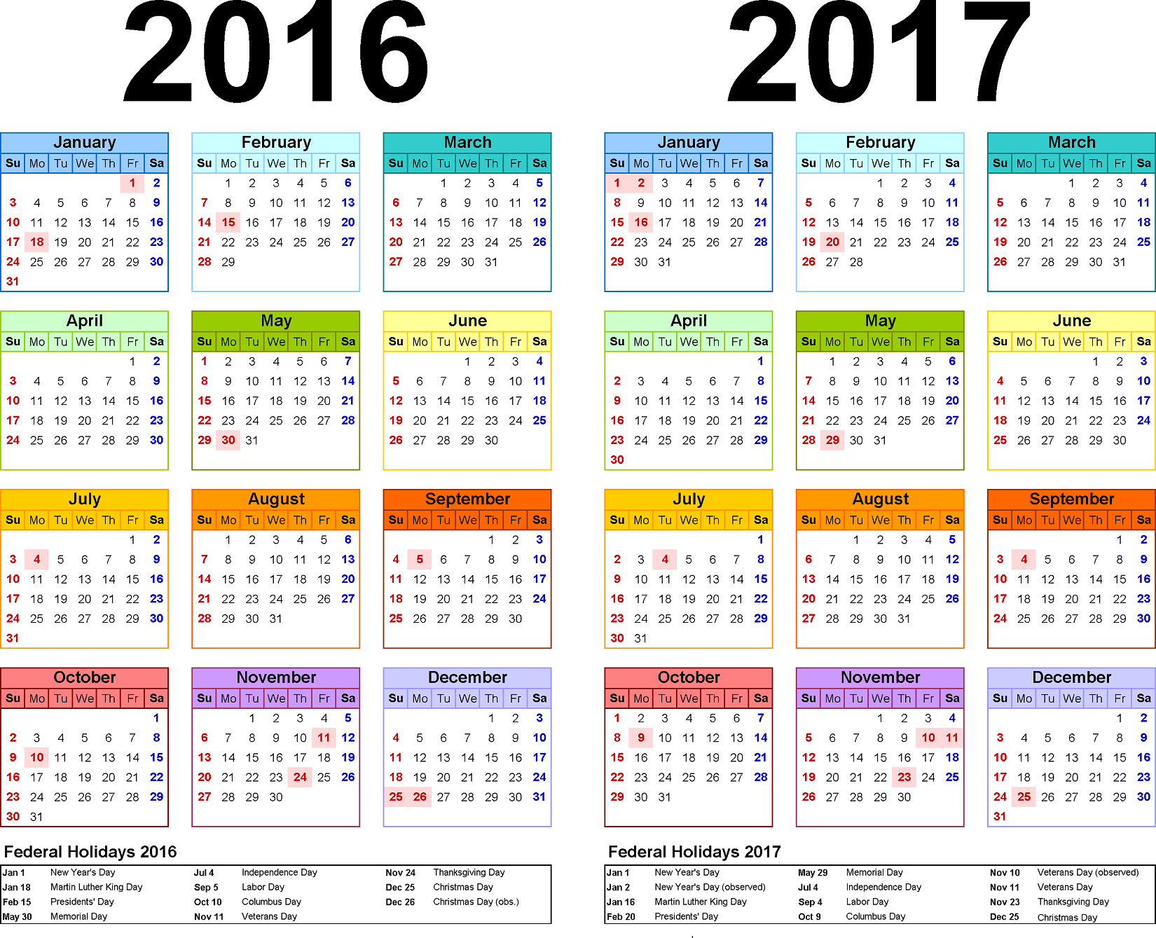 Yearly Calendars With Holidays  Activity Shelter