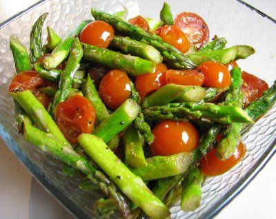 For the Love of Cooking » Roasted Asparagus and Cherry Tomatoes with a Balsamic Vinaigrette
