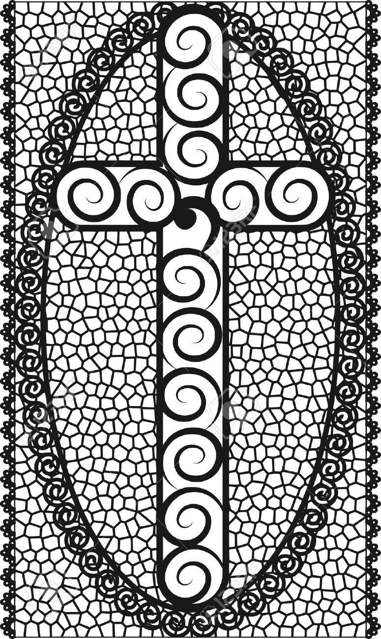 Ilustración De Cruz Con Vidrieras Marco. Ilustraciones Vectoriales ...