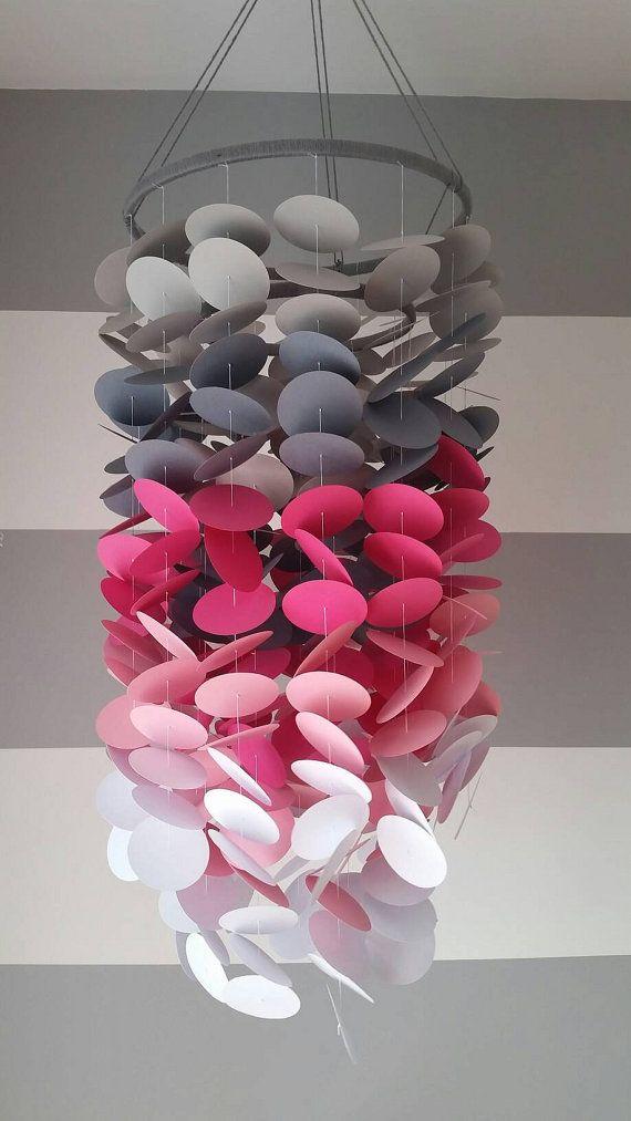 Mobile En Papier Gris Pale Gris Fonce Fuschia Rose Pale Et