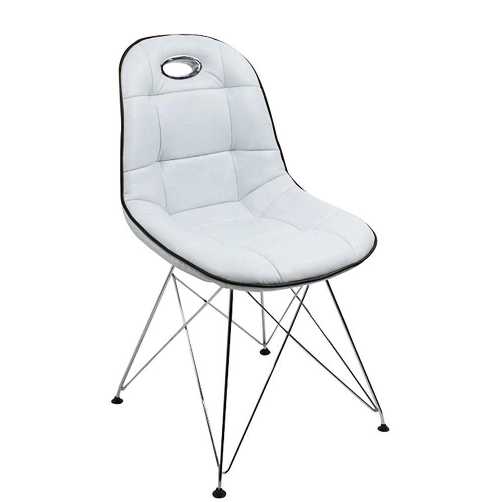 Designer Stuhl Anja Kunstleder Weiß Mit Verchromten Gestell Set   Online Günstig  Esszimmer Stühle Kaufen.
