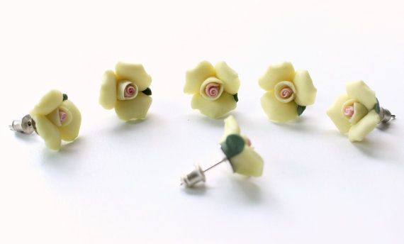 Fimo Clay Rose Post Earrings Yellow rose earrings by CatsAndSheeps