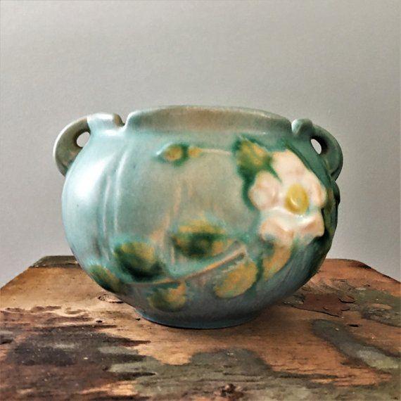 Vintage Roseville Pottery Blue Jardiniere In White Rose Pattern 653