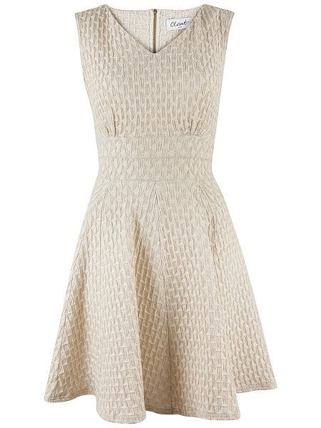 Metallic Textured Godet Dress