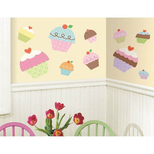Roommates decor happi cupcake peel and stick giant wall decals kids wall stickersvinyl