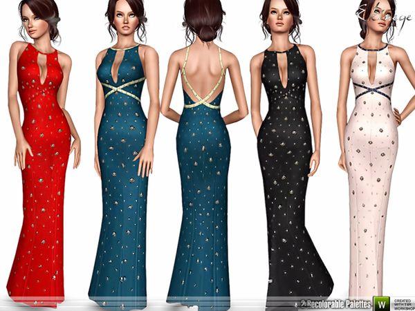 Embellished Long Dress by Ekinege - Sims 3 Downloads CC