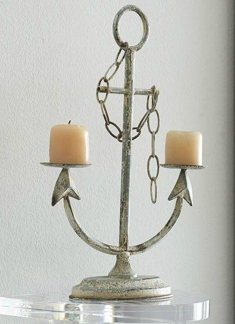 Beach Coastal Anchor LED Candle Holder Nautical Seaside Rope LED Candle Holder