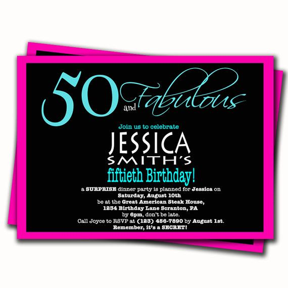 tiffany blue and pink 50th birthday invitation surprise party, Birthday invitations