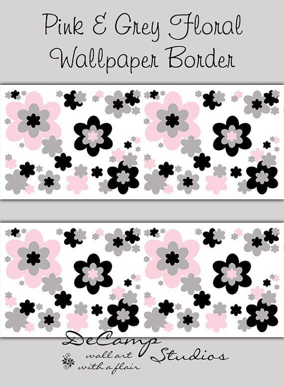 Pink, Grey, and Black Floral wallpaper border wall art