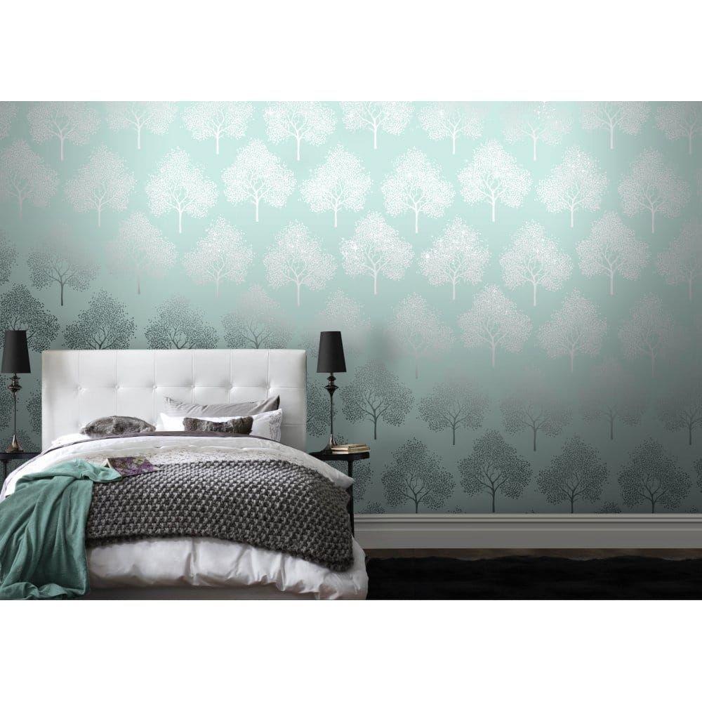 The Glittery World Of Silver Bedroom Ideas: Glitter Tree Wallpaper Teal / Silver Glitter (ILW980029
