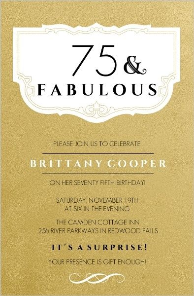 75th Birthday Invitations - 50 Gorgeous 75th Party Invites 75th - invitations samples for birthday