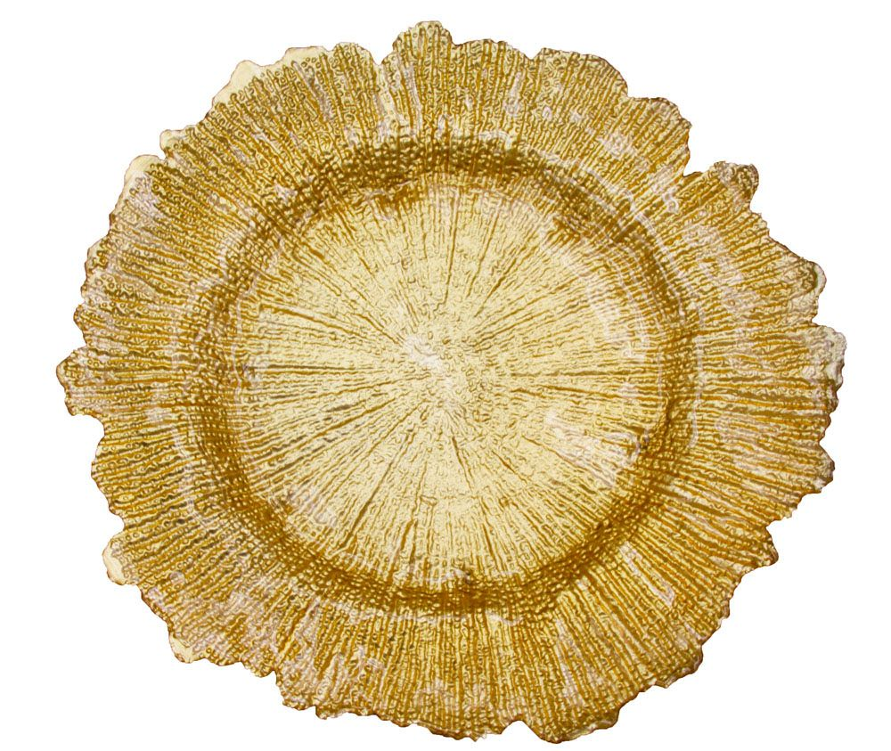 Reef glass charger plate gold event decor wedding and
