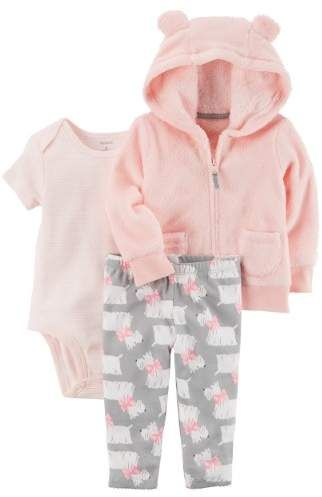 Carters Cardigan Set Girl Pink Sherpa Dog Print Kids