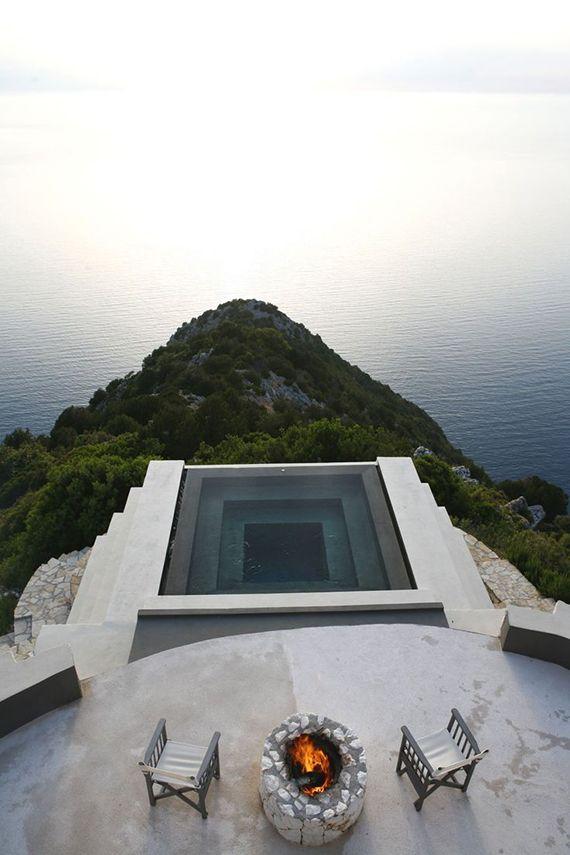 Cliffside minimalistic pool of Villa Althea in Kefalonia #minimalist #design #exteriors #architecture