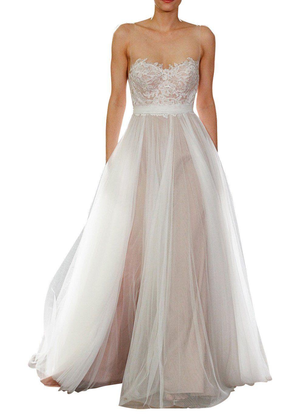 Wedding beach dress  LISTEN TO ME Womenus Lace Sweetheart Open Back Beach Wedding Dress