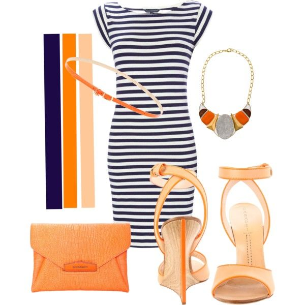 Navy, Orange, and Neutrals, created by alyssa-leanne on Polyvore