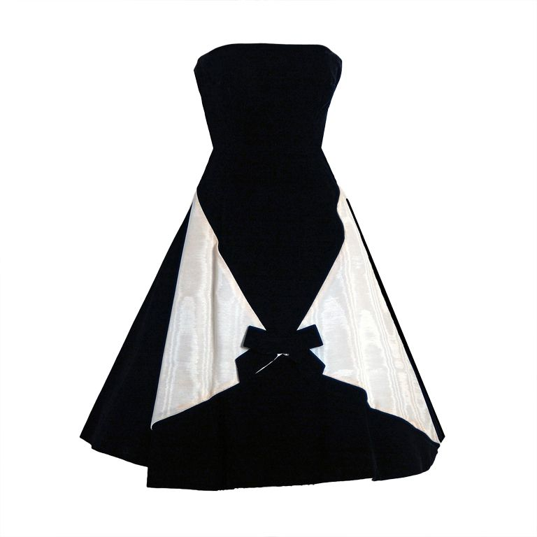 1950's Bob Bugnand Paris Black & White Strapless Party Dress