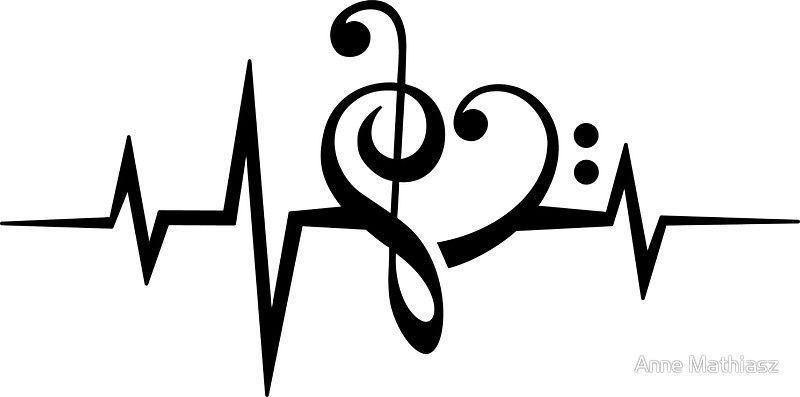 Pegatina Pulso Musica Del Corazon Amor Musica Clave De Fa