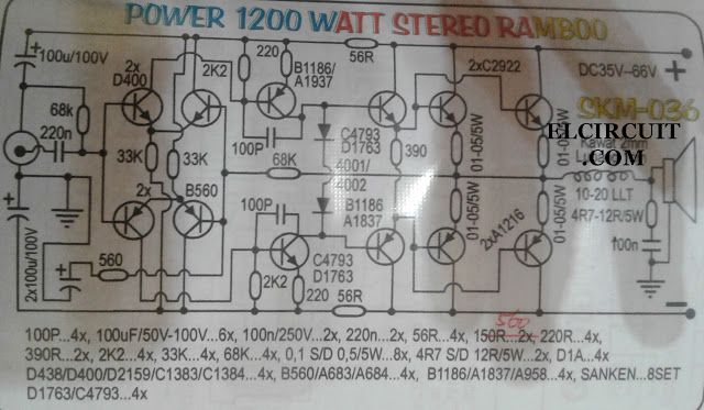 1200w High Power Amplifier 2sa1216 And 2sc2922 In 2019