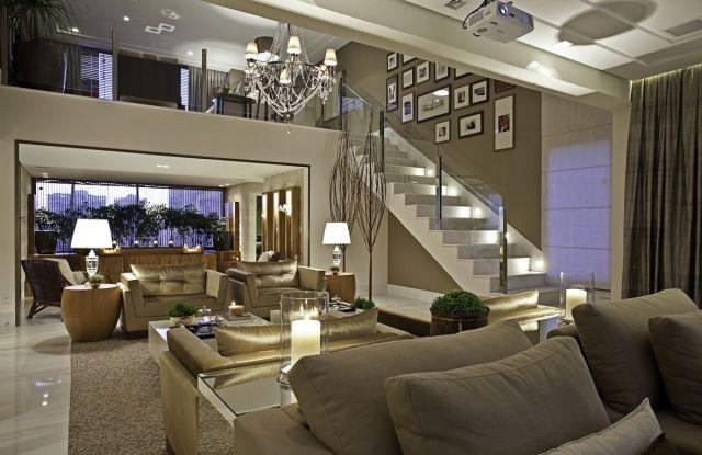 Mezanino Com Sala De Tv ~  sala de estar escadas direito mezanino decoração sala planejamento