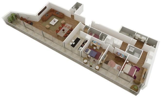 Plano de departamento de 3 dormitorios y 150 metros cuadrados.jpg ...