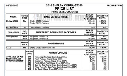 Ford Mustang Shelby GT Starts At Ford - Mustang invoice price