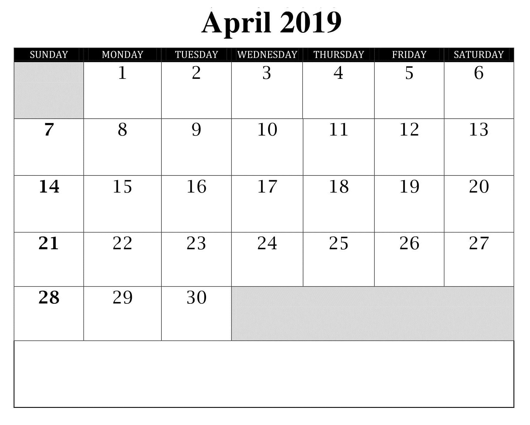 Blank April Calendar Editable