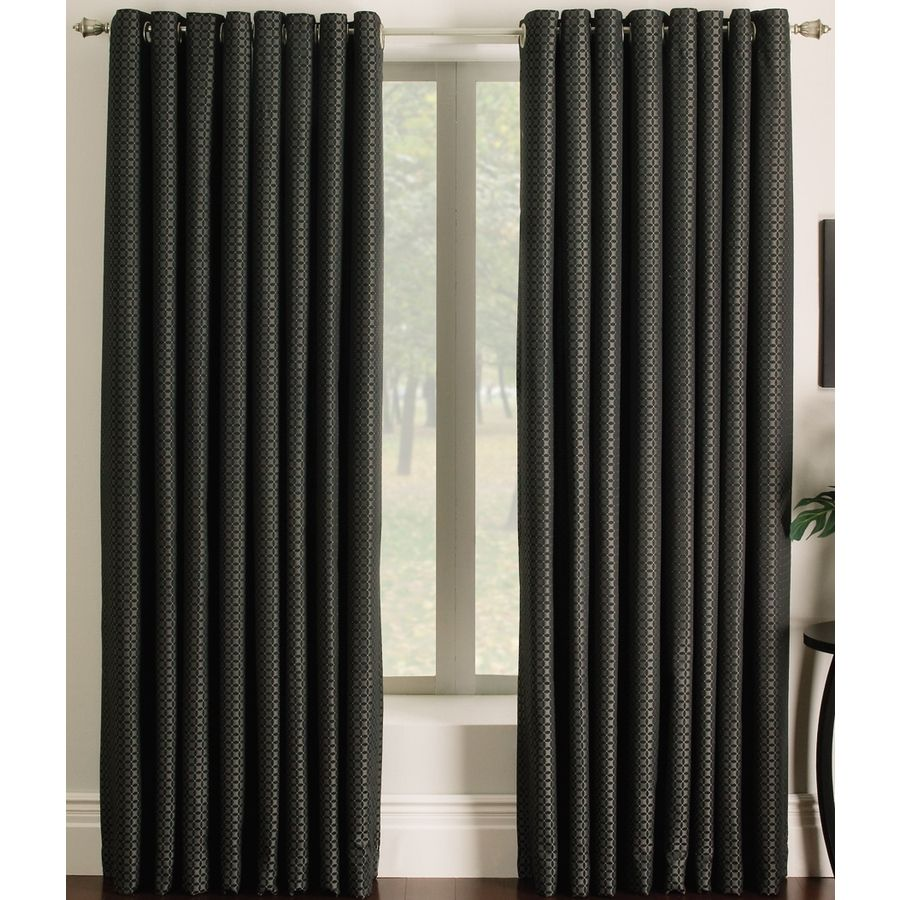 Allen Roth Sullivan 95 In Black Polyester Light Filtering Single