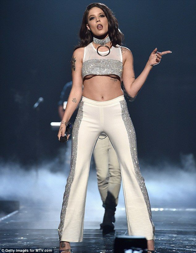 67f07a7dfdb57 Halsey flaunts underboob in a tiny sequinned crop top at the MTV VMAs