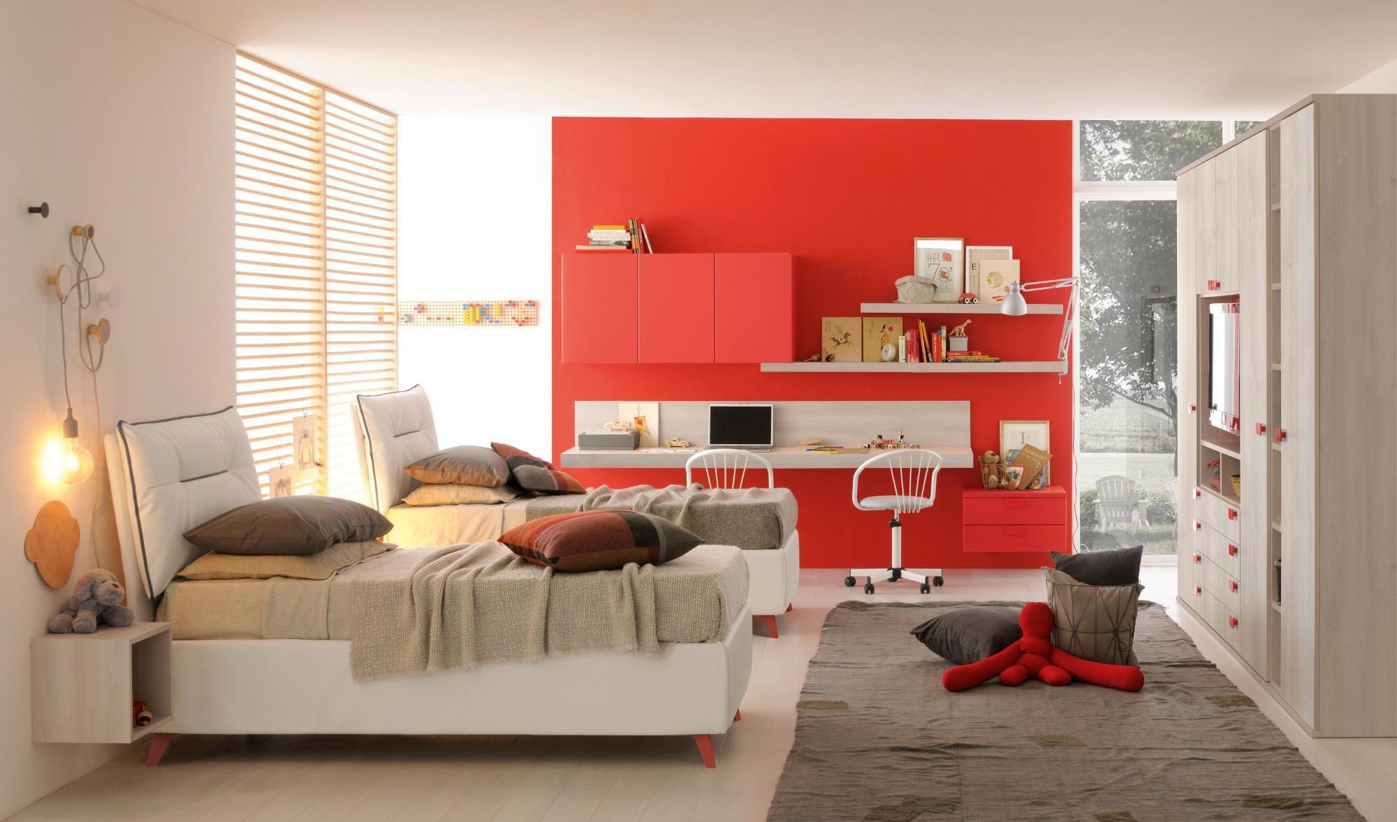 Finiture bianco, grigio e rosso Arredo camere da letto per ...