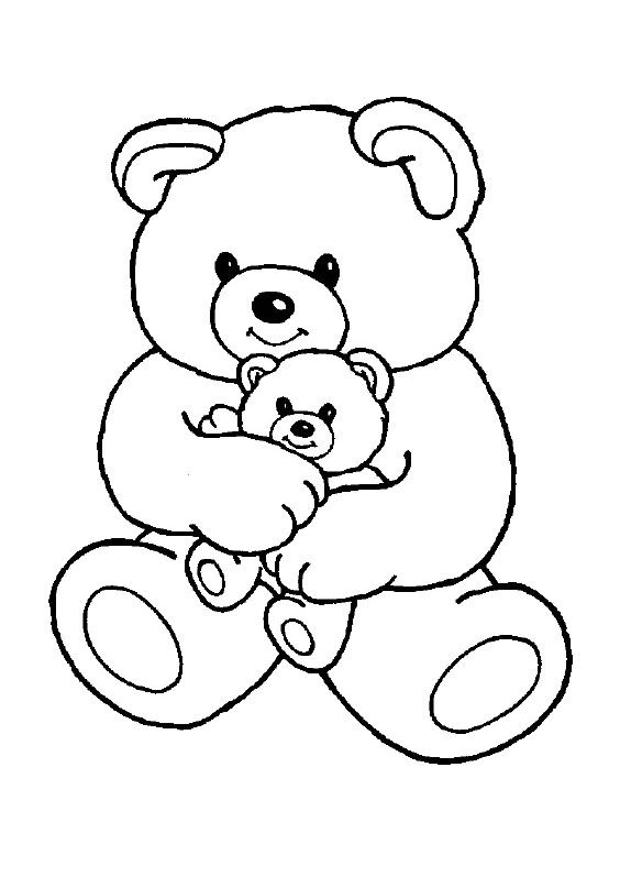Teddy Bear With Baby Coloring Pages - Teddy Bear Coloring ...