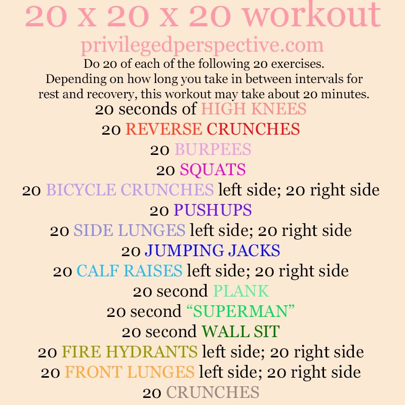 This 20 X 20 X 20 Workout Is A Fast Paced And Full Body Workout That You Can Do Without Needing A Gym Http Privilegedper Exercise Workout Plan Easy Workouts