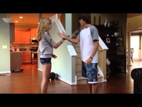 Cute couple handshakes step by step