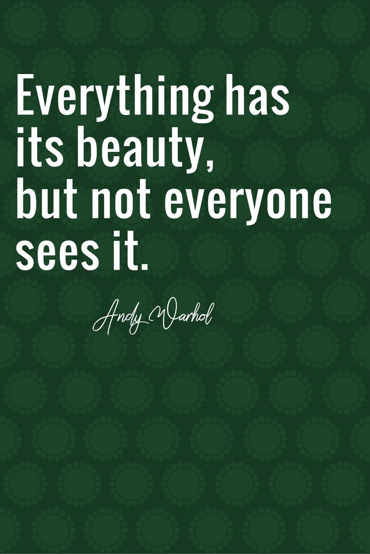 Everything Has Its Beauty But Not Everyone Sees It Andy Warhol Andy Warhol Words Quotes