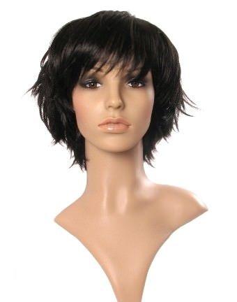 Porzia - Short black wig (choppy flicked