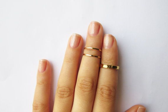 Gold Knuckle Rings - Gold Stacking rings, Thin gold shiny bands, Set of 3 stack midi rings, Wire ring, Gold accessories on Etsy, $15.00