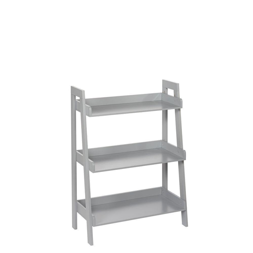 Riverridge Home 32 5 In Gray Wood 3 Shelf Ladder Bookcase With Open Back Gray Painted Mdf Floor Shelf Shelves Decor