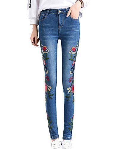 ZhuiKun Femme Denim Pantalons Brodé Jeans Slim Leggings Collant Crayon  Pants Bleu Clair XL 82b15eff85d
