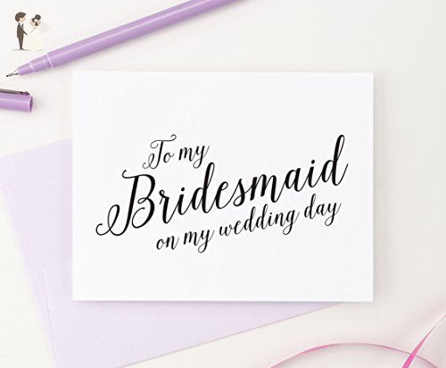 To My Bridesmaid On My Wedding Day Bridal Party Thank You Cards