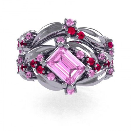 ec9ec913c8a Nature Inspired 14K White Gold 1.0 Ct Emerald Cut Light Pink Sapphire Ruby  Leaf and Vine