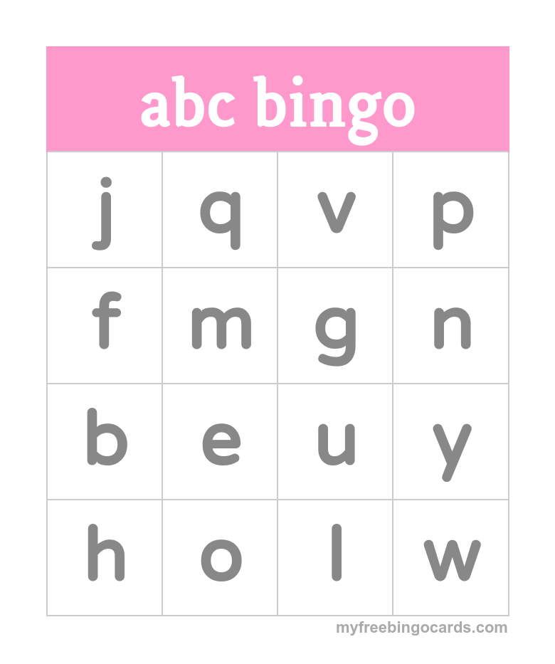 Free Printable Bingo Cards Alphabet BingoPreschool AlphabetAlphabet WritingColoring LettersFree