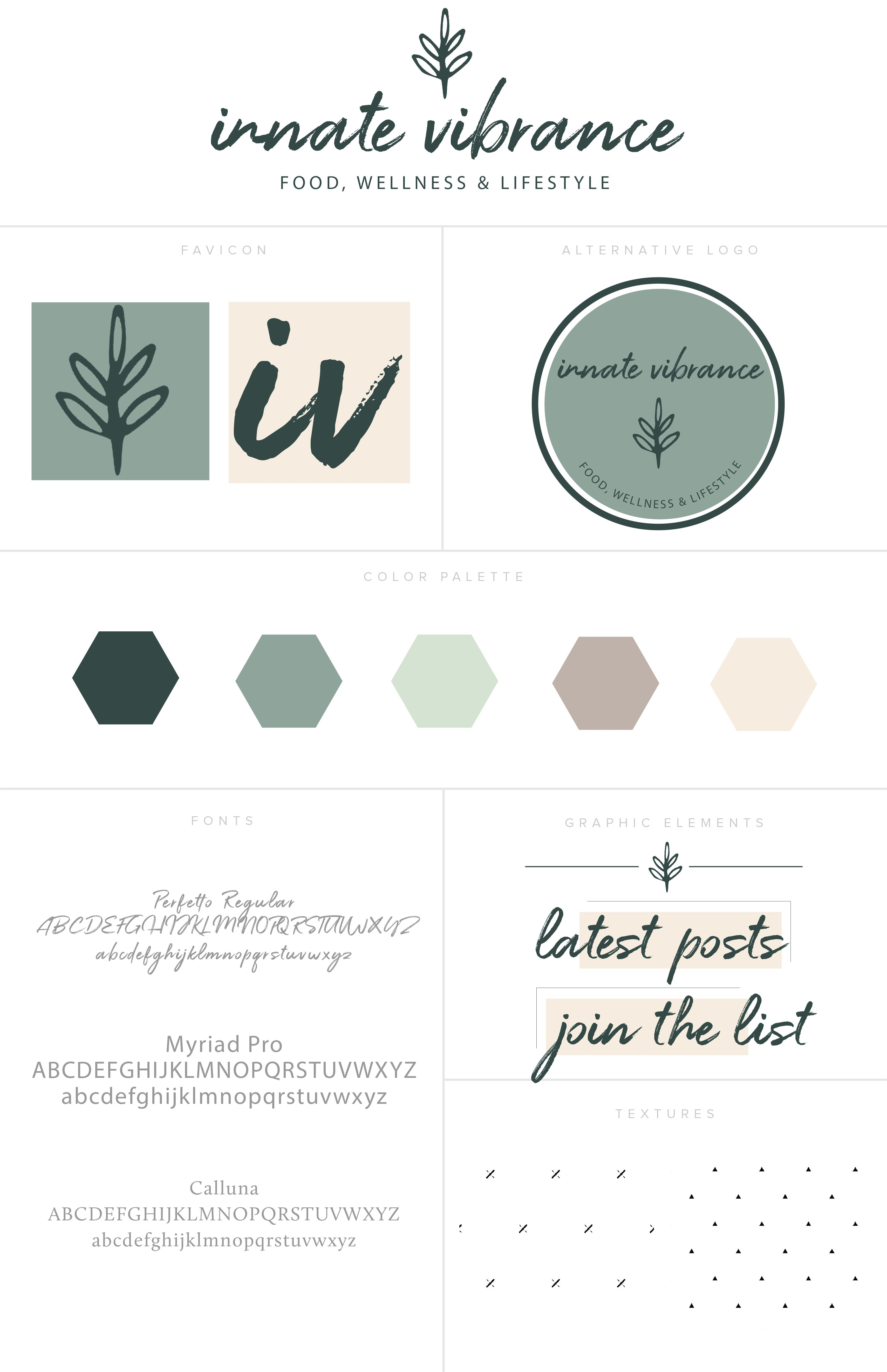 Earthy Brand Style Board Using Green Brown And Tan Color Palette