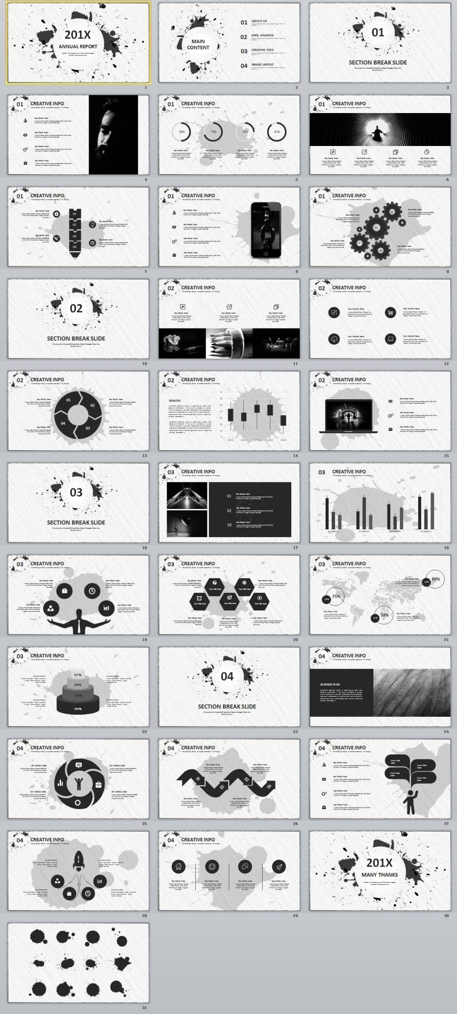 Best Gray Annual Report Powerpoint Template  Ppt