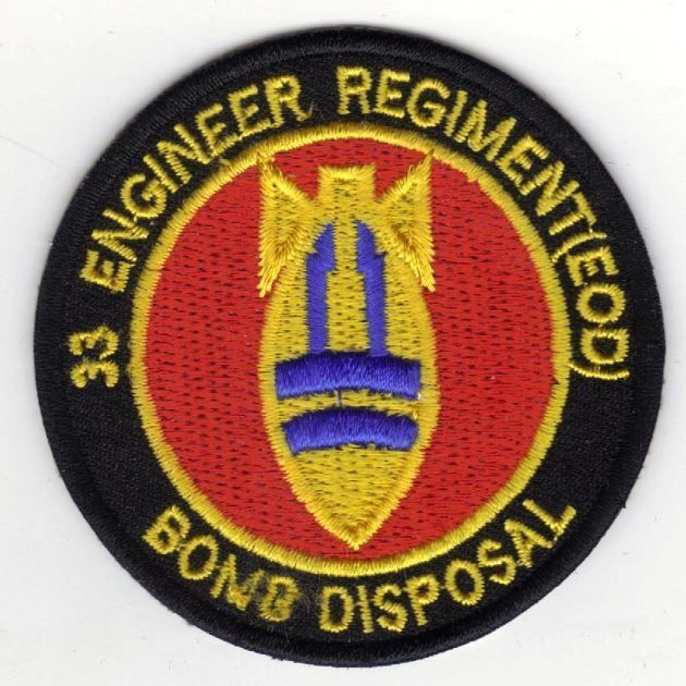 33 Engineer Regiment Eod Bomb Disposal Embroidered Cloth Badge Sew Iron On Cloth Badges Royal Engineers Badge