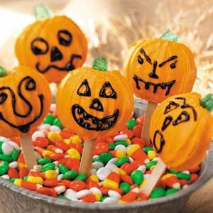 Pumpkin Cookie Pops ~ These cookie pops from our very own home economists are a great way to liven up a Halloween party. Kids love them. ~ Makes 30.