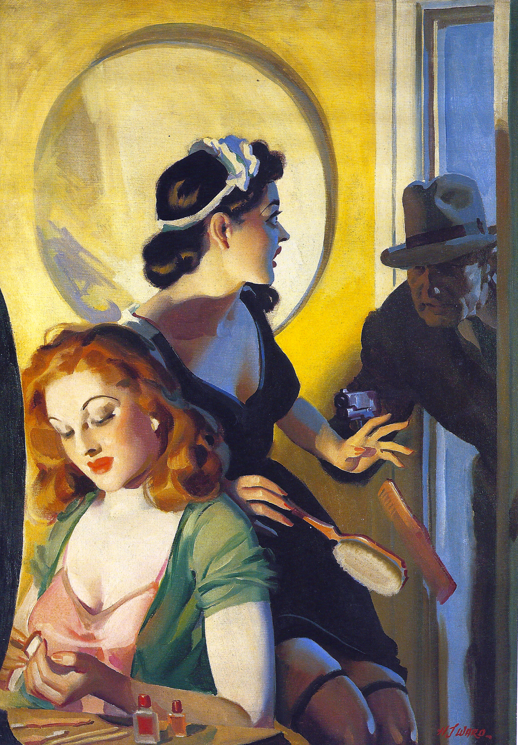 H J Ward Original cover painting for Private Detective Stories July 1938 Oil on canvas Via