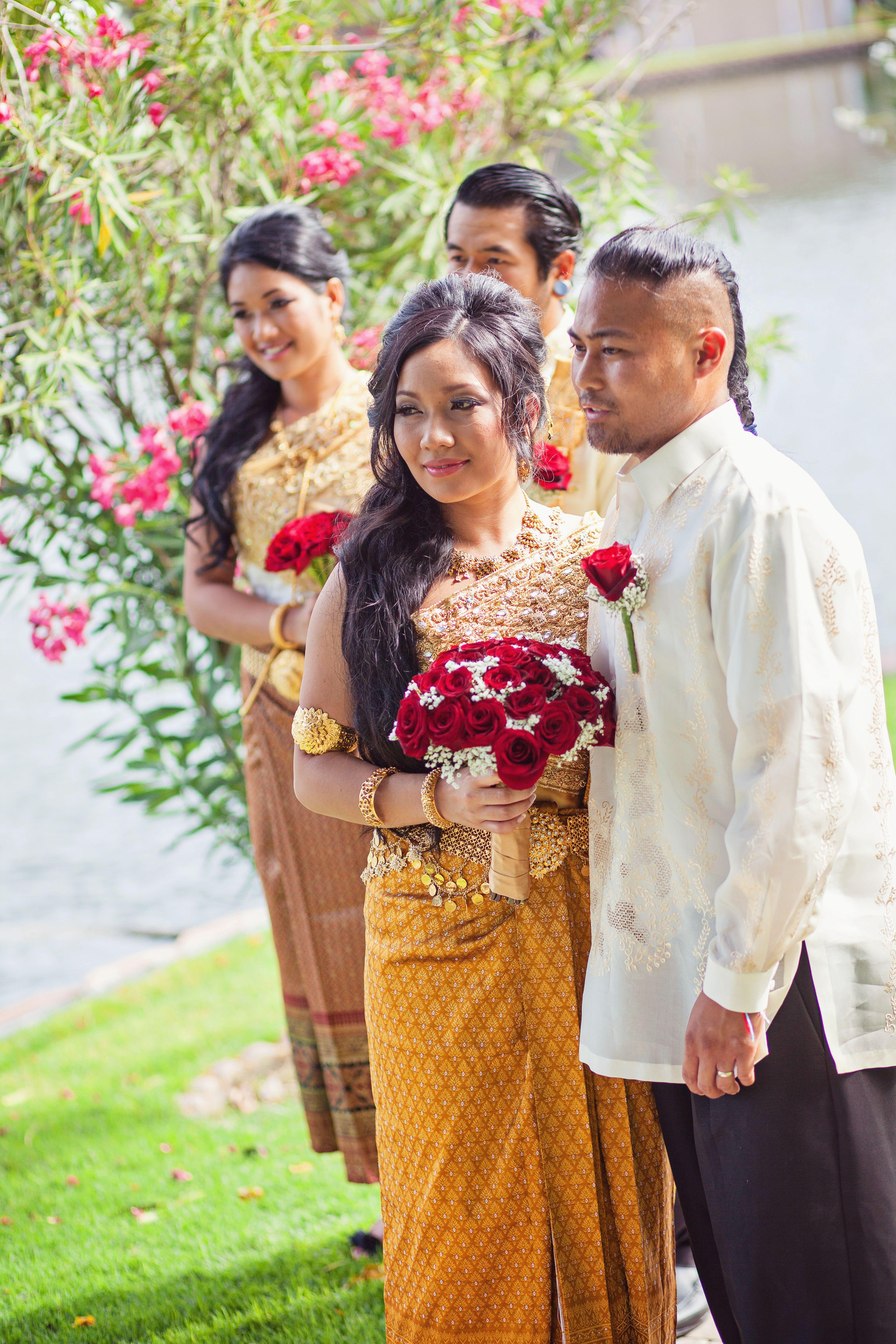 Khmer Wedding Bride And Groom Gold